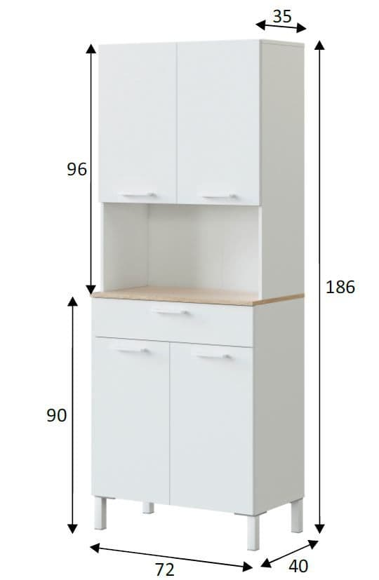 Elma Tall Utility Room Kitchen Pantry Cupboard with Microwave Storage Section